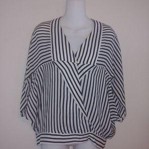 Bcbg maxazria xs striped blouse 100% silk